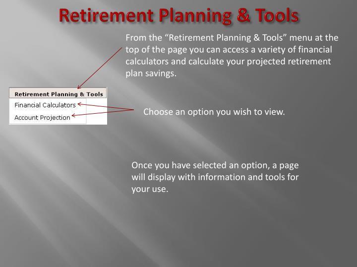 Retirement Planning & Tools