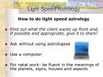 light speed astrology