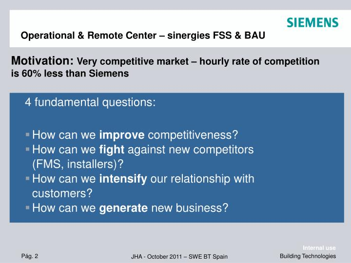 Operational & Remote Center – sinergies FSS & BAU