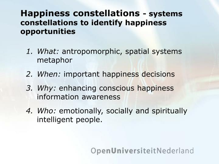 Happiness constellations