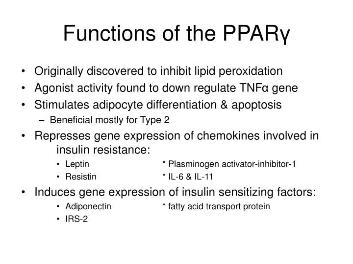 Functions of the PPAR
