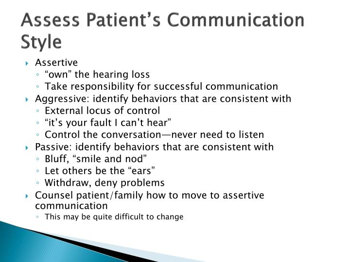 Assess Patient's Communication Style