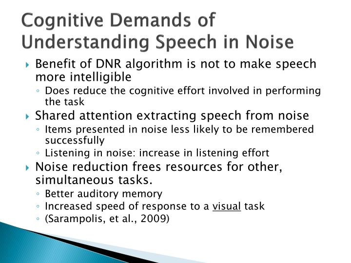 Cognitive Demands of Understanding Speech in Noise