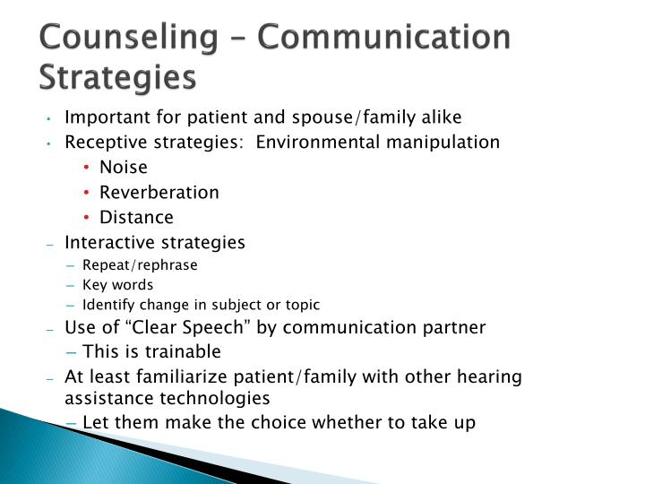 Counseling – Communication Strategies