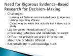 need for rigorous evidence based research for decision making