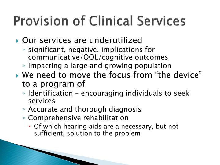 Provision of Clinical Services