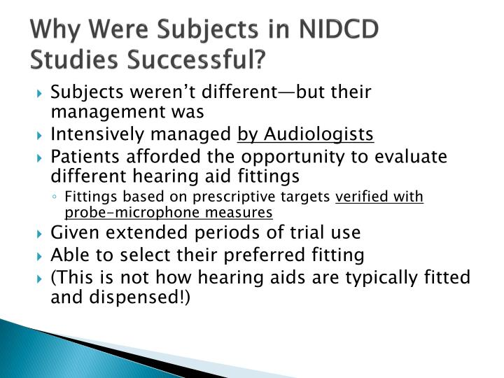 Why Were Subjects in NIDCD Studies Successful?