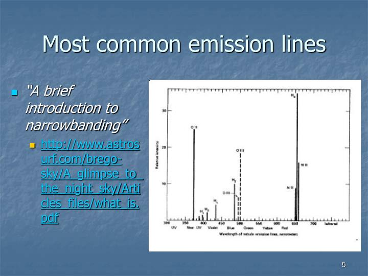 Most common emission lines