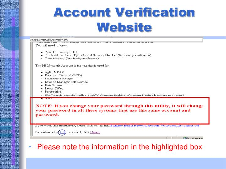Please note the information in the highlighted box