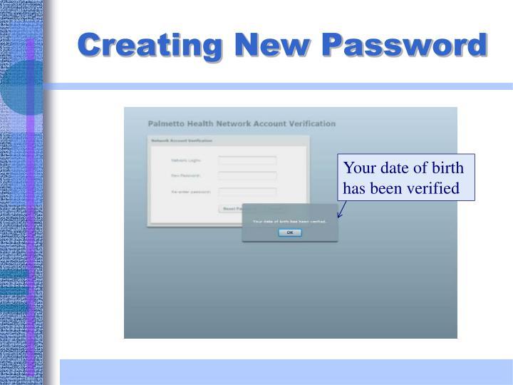 Creating New Password