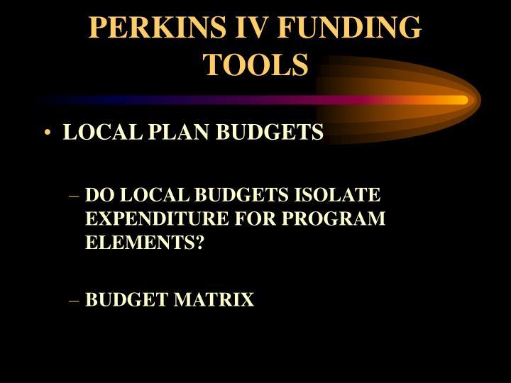 PERKINS IV FUNDING TOOLS