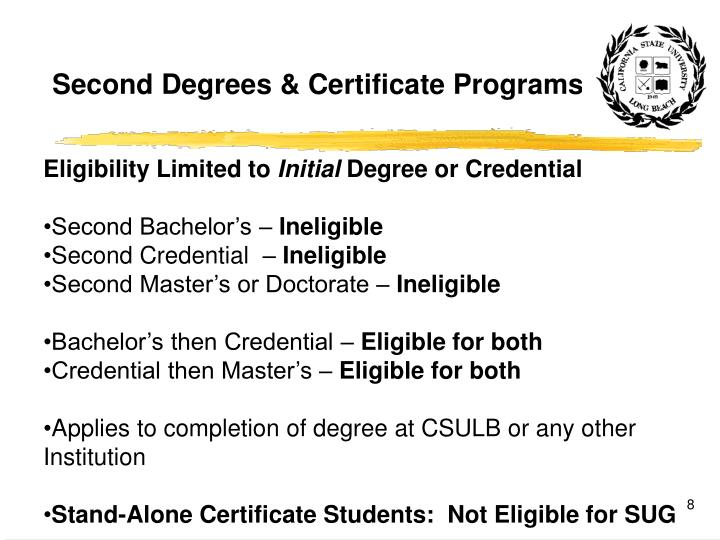 Second Degrees & Certificate Programs