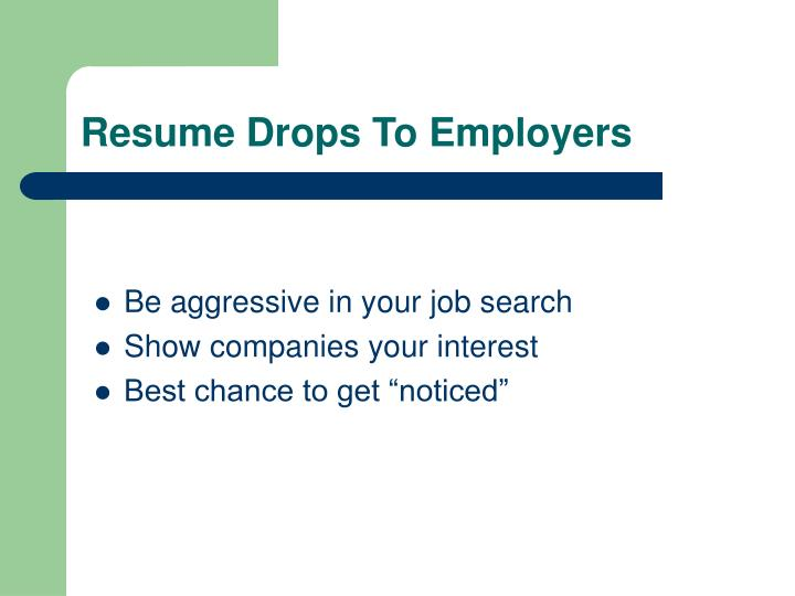 Resume Drops To Employers