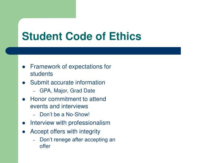 Student Code of Ethics