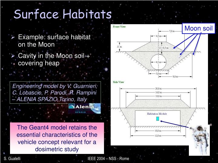 Example: surface habitat on the Moon