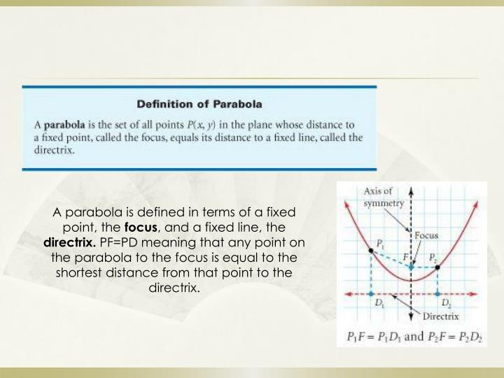 A parabola is defined in terms of a fixed point, the
