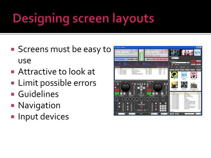 Designing screen layouts