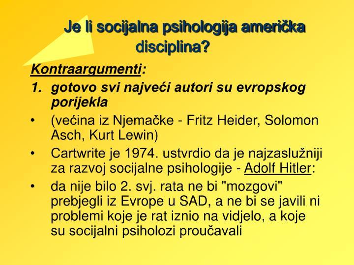 Je li socijalna psihologija američka disciplina?