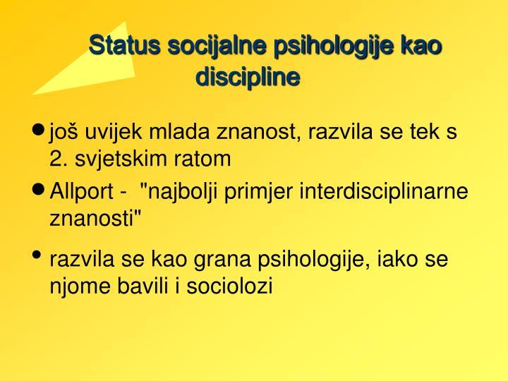 Status socijalne psihologije kao discipline