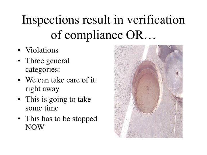 Inspections result in verification of compliance OR…
