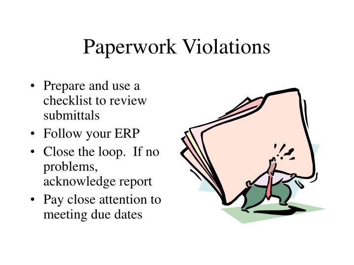 Paperwork Violations