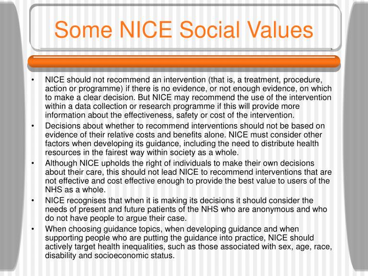 Some NICE Social Values