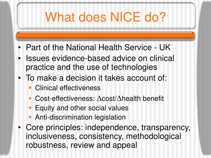 What does NICE do?
