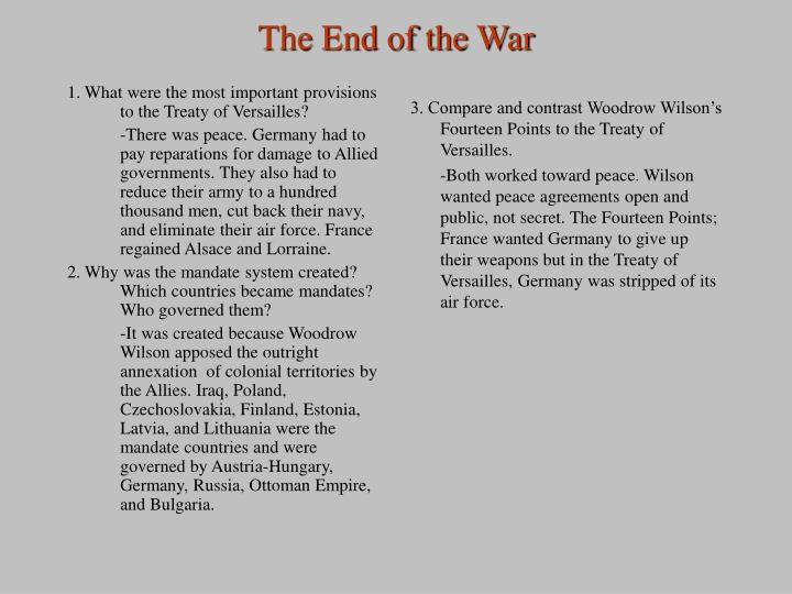 1. What were the most important provisions to the Treaty of Versailles?