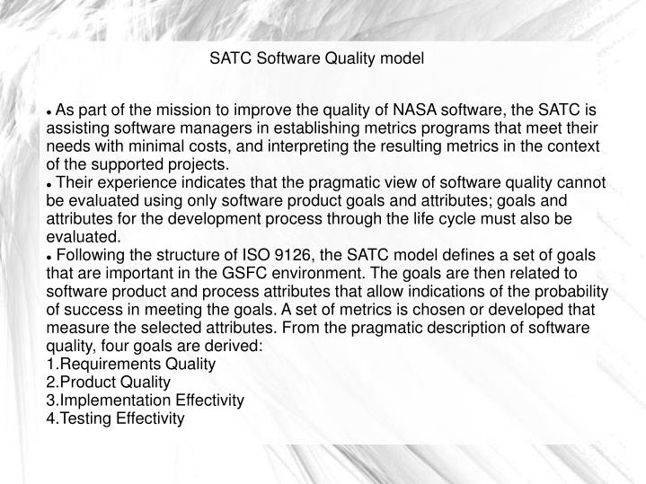 As part of the mission to improve the quality of NASA software, the SATC is assisting software managers in establishing metrics programs that meet their needs with minimal costs, and interpreting the resulting metrics in the context of the supported projects.
