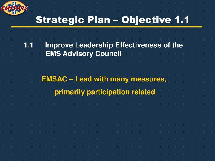 Strategic Plan – Objective 1.1