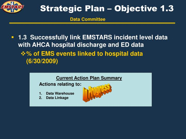 Strategic Plan – Objective 1.3