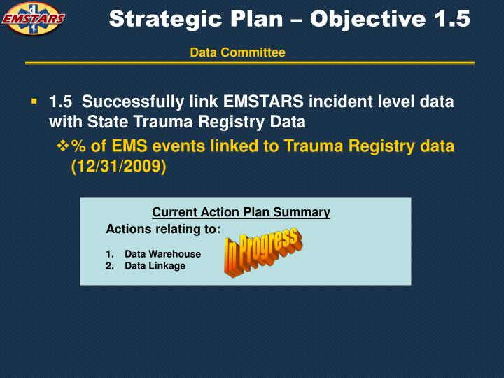 Strategic Plan – Objective 1.5
