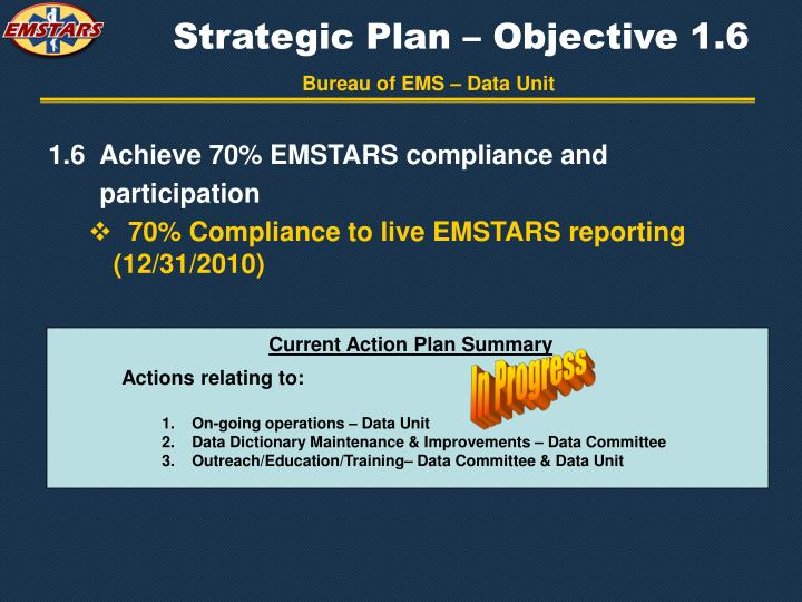 Strategic Plan – Objective 1.6