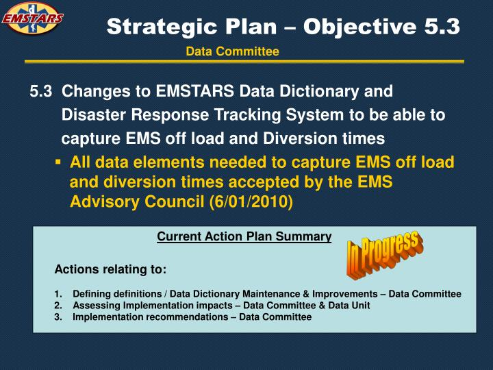Strategic Plan – Objective 5.3