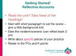 getting started reflective accounts