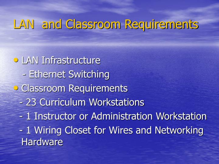 LAN  and Classroom Requirements