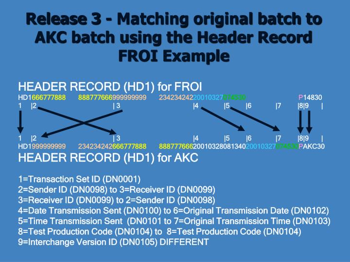 Release 3 - Matching original batch to AKC batch using the Header Record