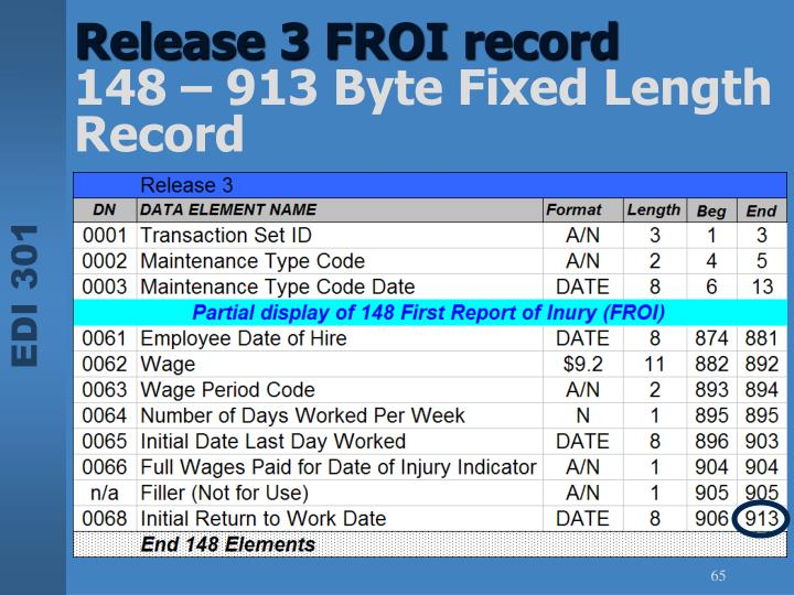Release 3 FROI record