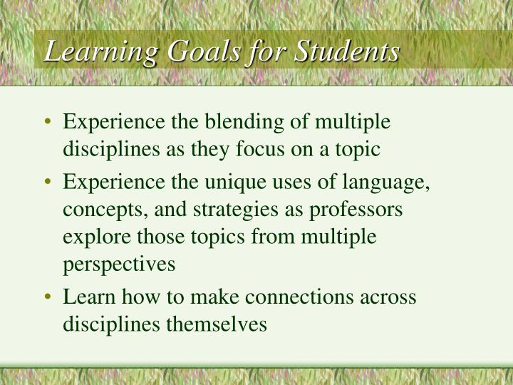 Learning Goals for Students