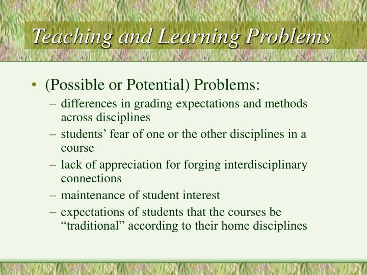 Teaching and Learning Problems