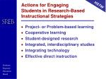 actions for engaging students in research based instructional strategies