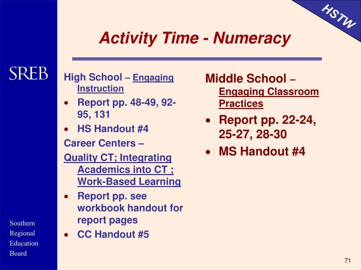 Activity Time - Numeracy