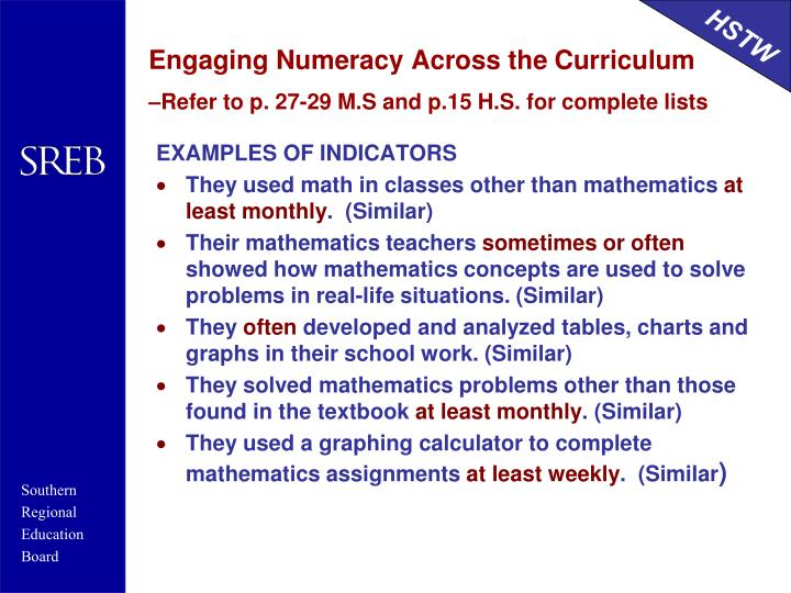 Engaging Numeracy Across the