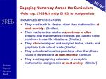 engaging numeracy across the curriculum refer to p 27 29 m s and p 15 h s for complete lists