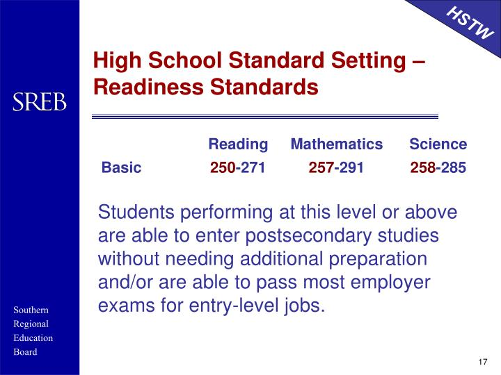 High School Standard Setting –