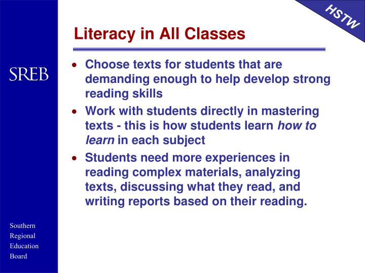Literacy in All Classes