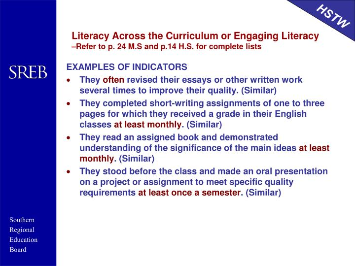 Literacy Across the Curriculum or Engaging Literacy