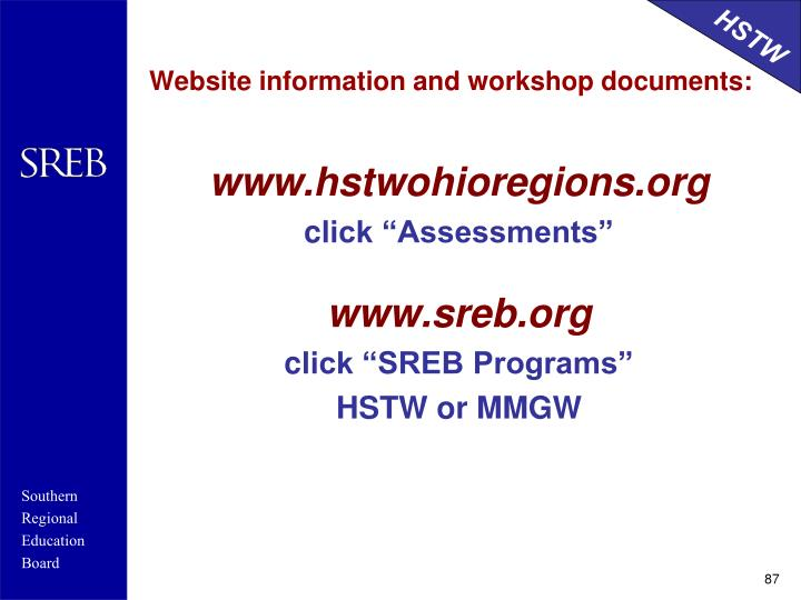 Website information and workshop documents: