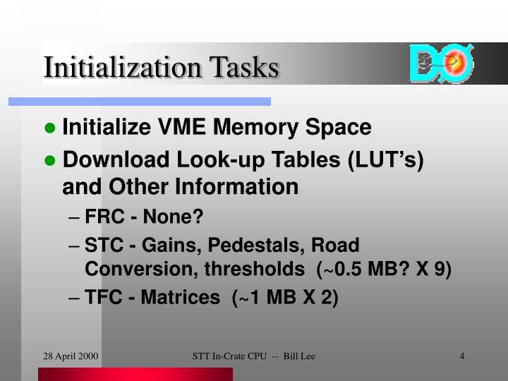 Initialization Tasks