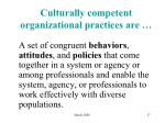 culturally competent organizational practices are
